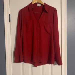 Long Sleeve Blouse - Red - Express